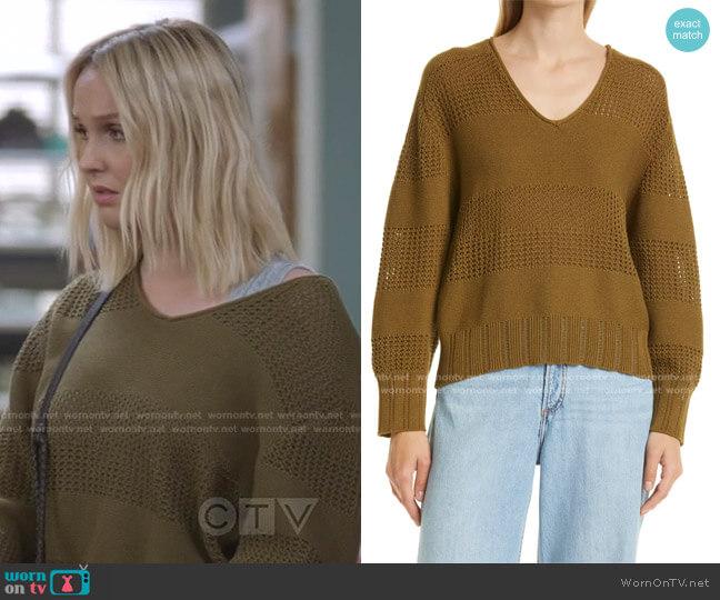 Faye Stripe V-Neck Sweater by Rag & Bone worn by Jo Wilson (Camilla Luddington) on Greys Anatomy