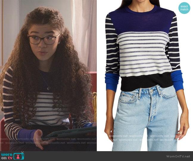 Marissa Contrast Stripe Sweater by Rag & Bone worn by Mary-Anne Spier (Malia Baker) on The Baby-Sitters Club
