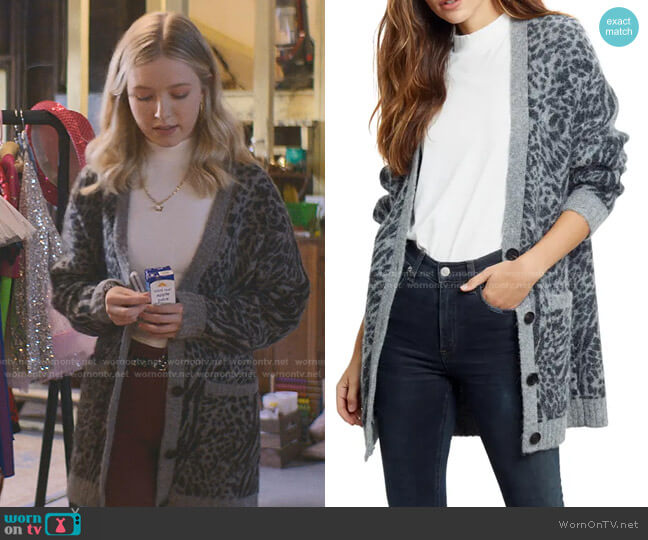 Oslo Animal Print Cardigan by Rails worn by Stacey McGill (Shay Rudolph) on The Baby-Sitters Club