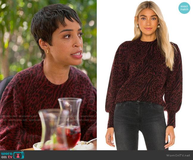 Rails Genevieve Sweater in Burgundy Mixed Animal worn by Maribel (Jillian Mercado) on The L Word Generation Q