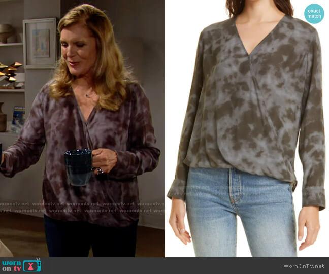 Rails Hillary Surplice Tie Dye Top worn by Sheila Carter (Kimberlin Brown) on The Bold & the Beautiful