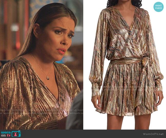 Metallic Faux-Wrap Mini Dress by Ramy Brook worn by Cristal Jennings (Daniella Alonso) on Dynasty