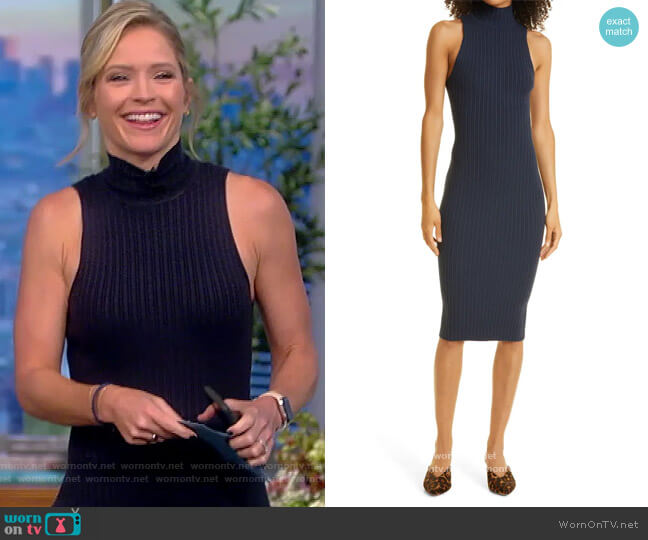 Regina Ribbed Body-Con Sleeveless Sweater Dress by Ramy Brook worn by Sara Haines  on The View