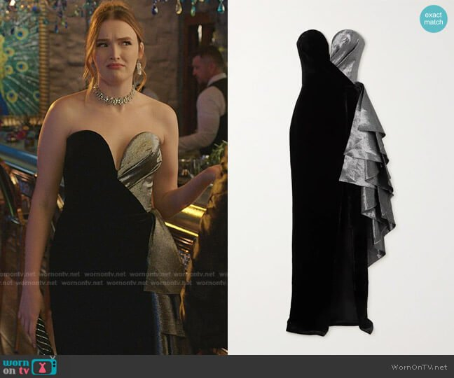 Strapless Ruffled Lamé and Velvet gown by Rasario worn by Kirby Anders (Maddison Brown) on Dynasty