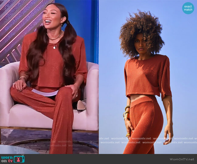 Harlow T-Shirt and Pants by Recc Paris worn by Jeannie Mai  on The Real