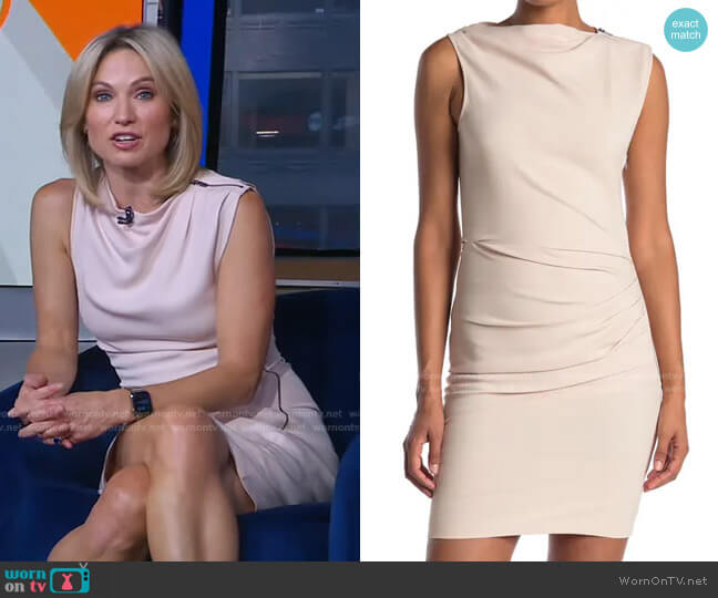 Bali Ruched Side Bodycon Dress by Reiss worn by Amy Robach  on Good Morning America