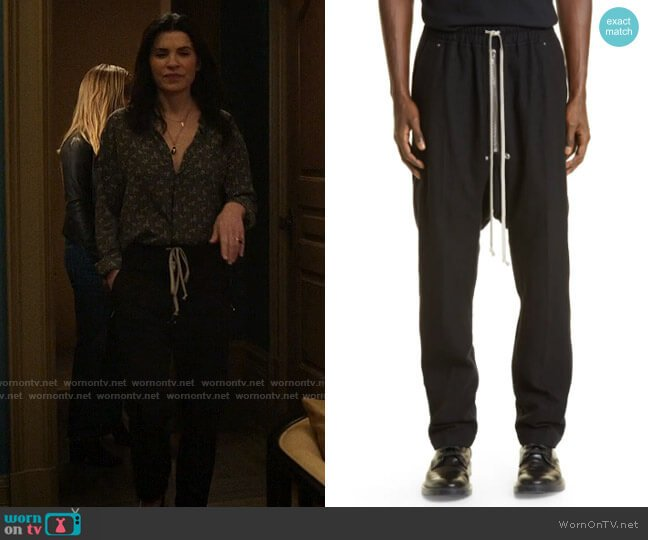 Rick Owens Bella Pants worn by Laura Peterson (Julianna Margulies) on The Morning Show