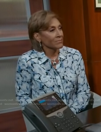 Robin's blue floral blouse on Good Morning America