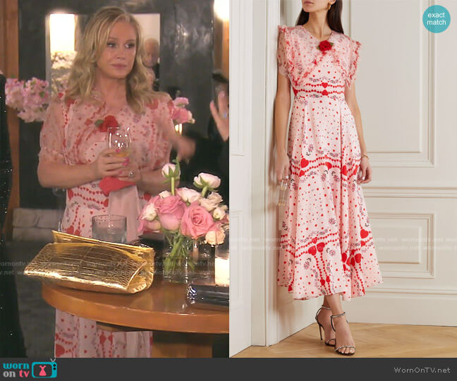 Ruffled Organza-Trimmed Printed Silk Dress by Rodarte worn by Kathy Hilton  on The Real Housewives of Beverly Hills