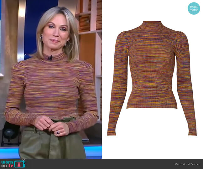 Octavia Top by Ronny Kobo worn by Amy Robach  on Good Morning America