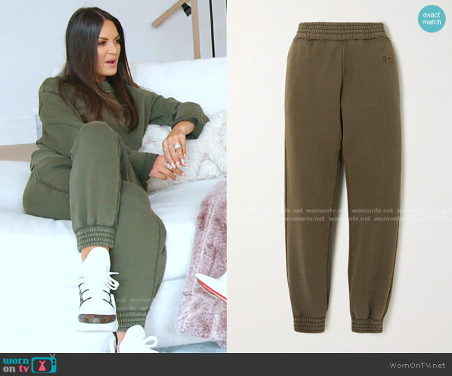 Sydney Cotton Jersey Track Pants by RtA worn by Lisa Barlow  on The Real Housewives of Salt Lake City