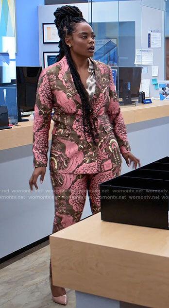 Sabrina's pink and brown printed suit on Tyler Perrys Sistas