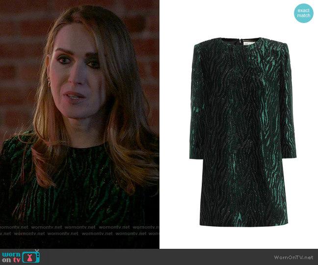 Saint Laurent Lamé velvet jacquard minidress worn by Tess Van De Berg (Jamie Clayton) on The L Word Generation Q