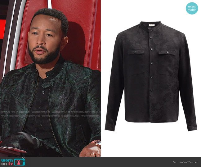 Stand-Collar Palm Tree-Jacquard Silk Shirt by Saint Laurent worn by John Legend on The Voice