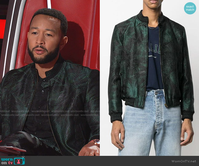 Foliage Jacquard Bomber Jacket by Saint Laurent worn by John Legend on The Voice
