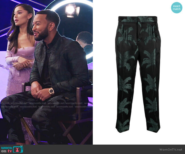 Palm Tree-Jacquard Trousers by Saint Laurent worn by John Legend on The Voice