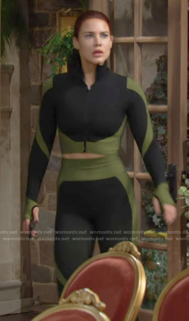 Sally's black and green leggings and top on The Young and the Restless