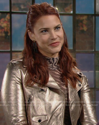 Sally's metallic gold leather jacket on The Young and the Restless