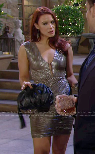 Sally's metallic mini dress on The Young and the Restless