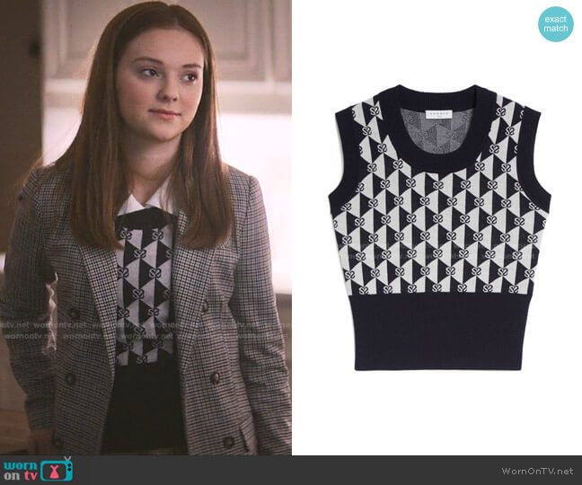 Logo Print Sweater Vest by Sandro worn by Kristy Thomas (Sophie Grace) on The Baby-Sitters Club