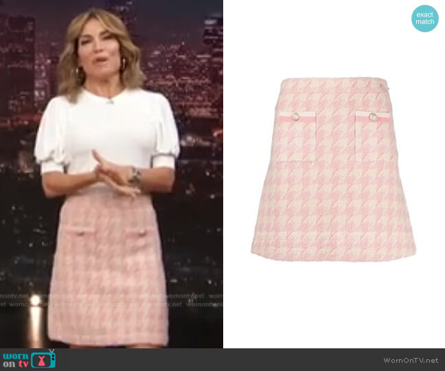 Louisa High Waist Tweed Miniskirt by Sandro worn by Kit Hoover  on Access Hollywood