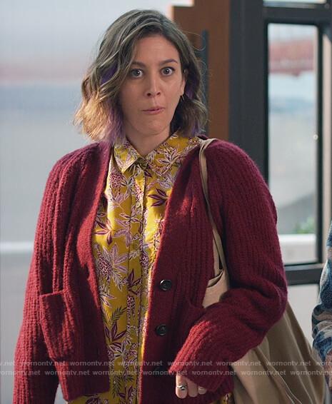 Sarah's burgundy knit cardigan on Home Economics