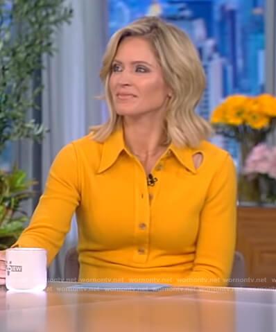 Sara's yellow cutout shirtdress on The View