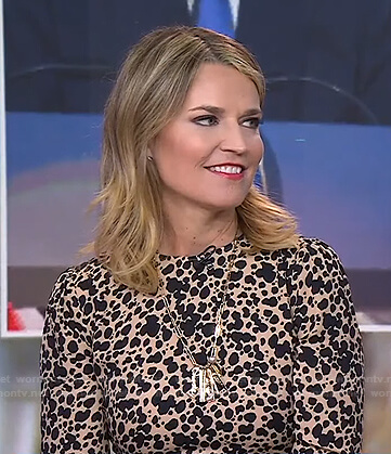 Savannah's beige spotted dress on Today