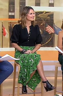 Savannah's black top and green print skirt on Today