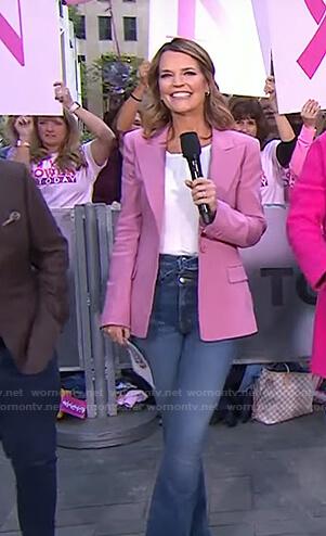 Savannah's pink blazer and tie waist jeans on Today