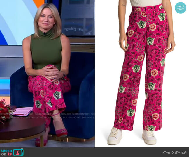 Floral Tailored Wide Leg Pants by Scotch & Soda worn by Amy Robach  on Good Morning America