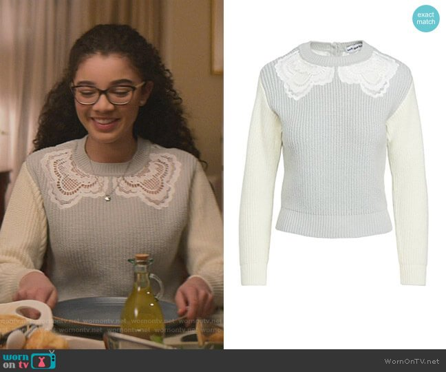 Guipure Sweater by Self Portrait worn by Mary-Anne Spier (Malia Baker) on The Baby-Sitters Club
