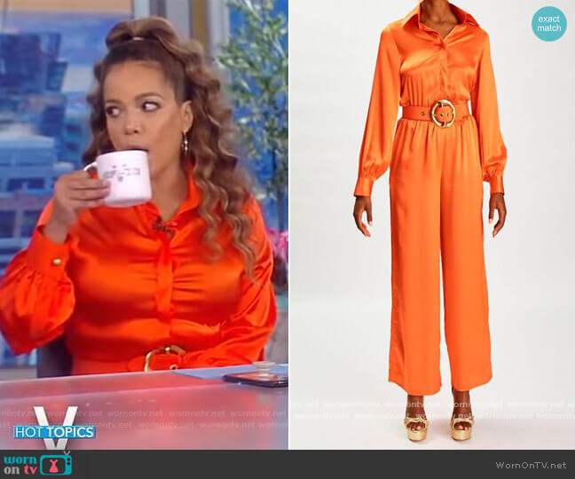 Satin Belted Dress by Sergio Hudson worn by Sunny Hostin  on The View