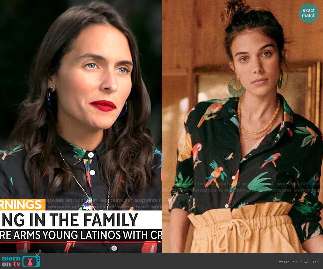 Sezane Pierro Shirt in Black Jungle worn by Lilia Luciano on CBS Mornings