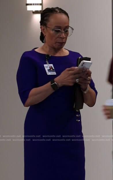 Sharon's purple sheath dress on Chicago Med