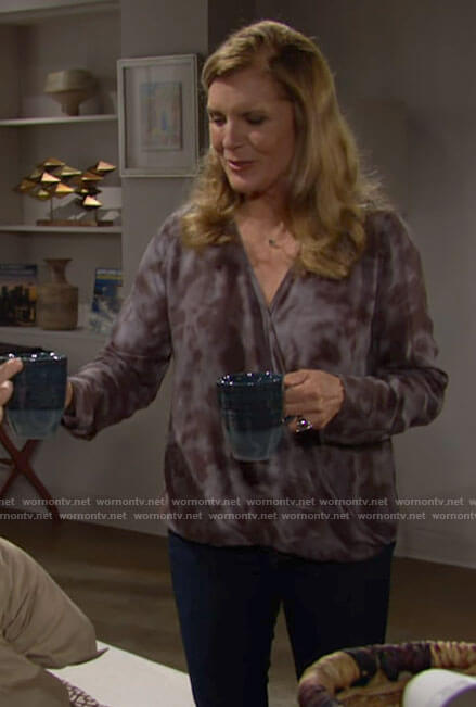 Sheila's tie dye wrap top on The Bold and the Beautiful