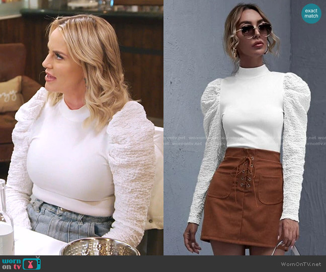 Mock Neck Gigot Sleeve Rib-knit Top by Shein worn by Whitney Rose  on The Real Housewives of Salt Lake City