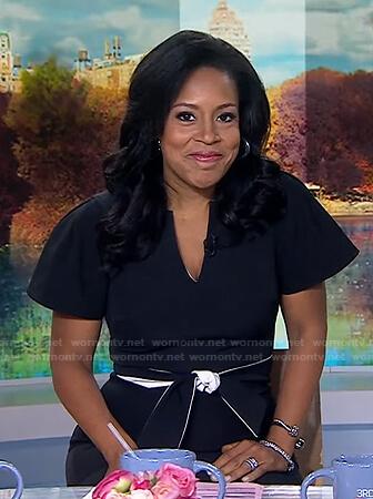Sheinelle's black v-neck tie waist dress on Today