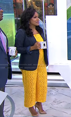 Sheinelle's yellow floral lace jumpsuit on Today