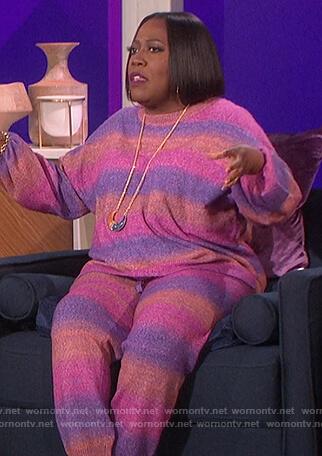 Sheryl's stripe sweatshirt and pants on The Talk