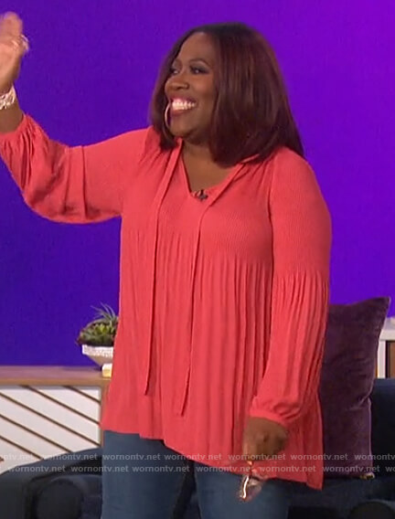 Sheryl's pink pleated tie neck blouse on The Talk
