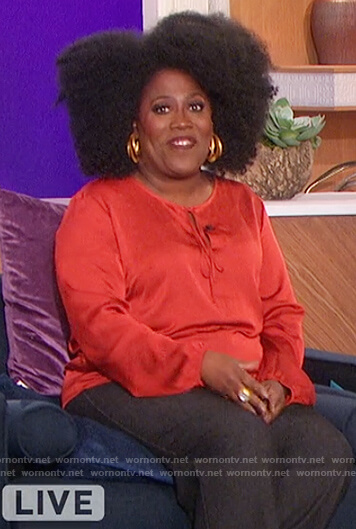 Sheryl's red satin keyhole blouse on The Talk