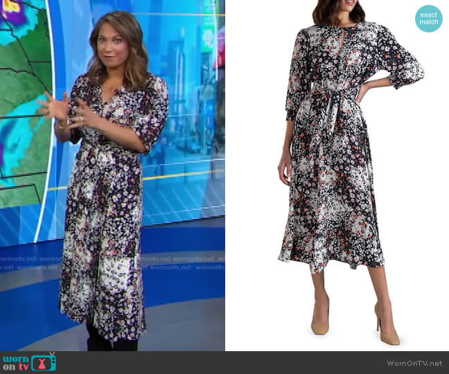 Emmory Floral Tie-Waist Dress by Shoshanna worn by Ginger Zee  on Good Morning America
