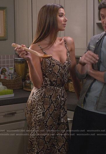 Sophia's snake skin print jumpsuit on Home Economics