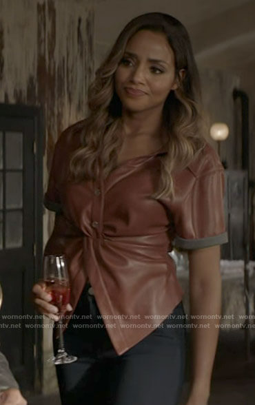 Sophie's tan leather twist front top on Batwoman