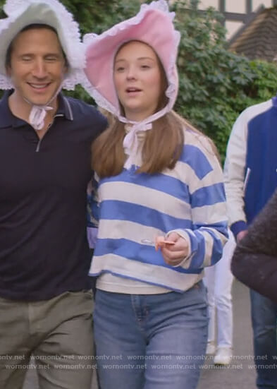 Kirsty's blue striped cardigan on The Baby-Sitters Club