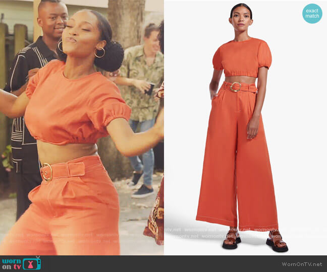 Athena Top and Pants by Staud worn by Angela Vaughn (Yaya DaCosta) on Our Kind of People