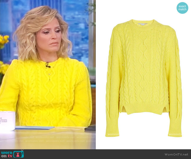 Cable-knit cotton-blend sweater by Stella McCartney worn by Sara Haines  on The View
