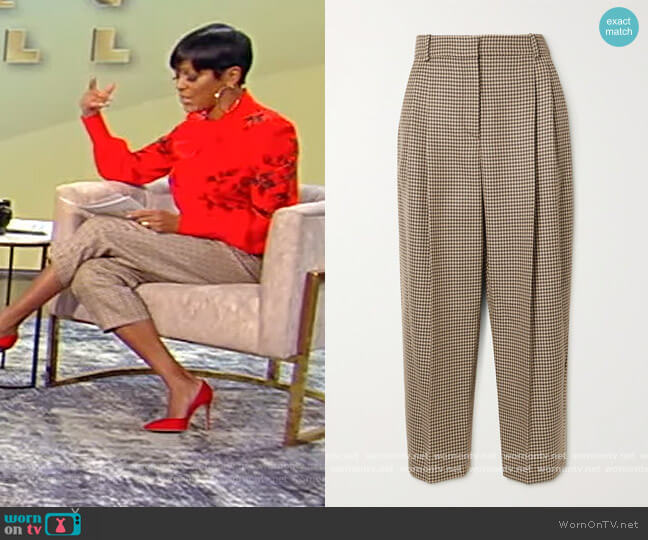 Cavalry cropped houndstooth-check trousers by Stella McCartney worn by Tamron Hall  on Tamron Hall Show