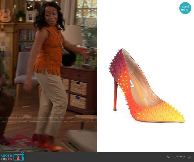 Steve Madden Vala-S Multicolored Studded Pumps worn by Tina (Tichina Arnold) on The Neighborhood